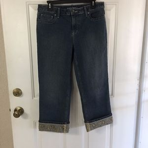 Apt 9 Cropped Sequin Bootcut Jeans (size 12)(M1)